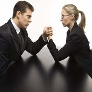 arm wrestling man and woman